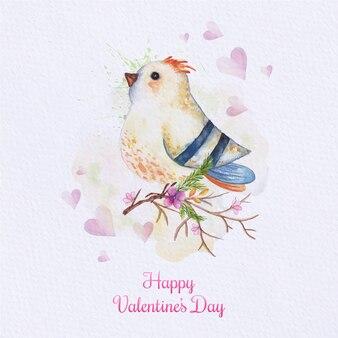 Carte d'oiseau aquarelle. carte peinte avec oiseau sur la branche. carte d'amour avec aquarelle mignonne