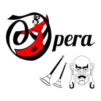 Carte d'opéra chinois avec masque et instruments.