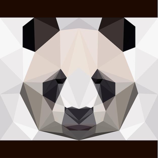 Carte d'ours panda polygonale abstraite