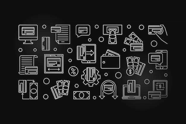 Carte de paiement argent contour icône horizontale illustration
