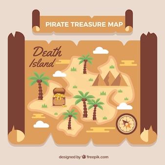 Carte avec des palmiers et un trésor pirate