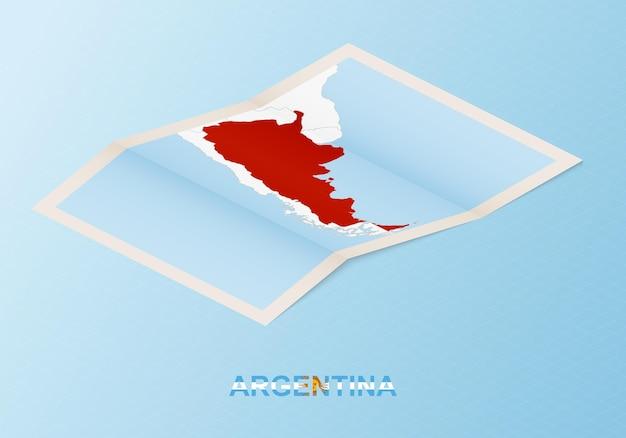 Carte papier pliée de l'argentine avec les pays voisins dans un style isométrique.