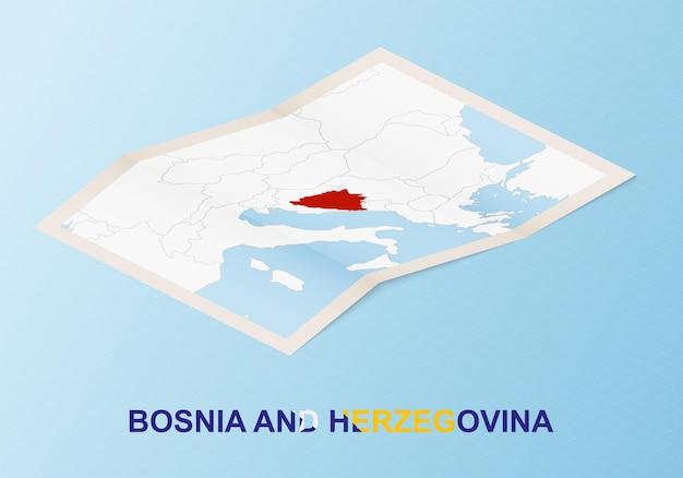 Carte papier pliée de la bosnie-herzégovine avec les pays voisins dans un style isométrique