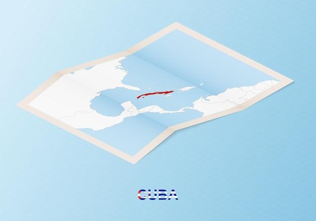 Carte papier pliée de cuba avec les pays voisins dans un style isométrique.