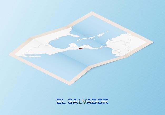 Carte papier pliée du salvador avec les pays voisins dans un style isométrique.