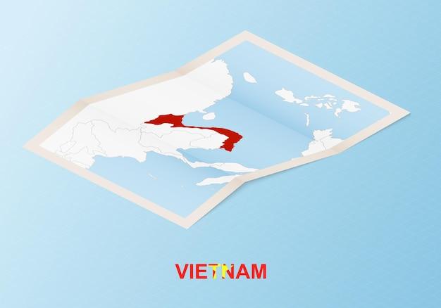 Carte papier pliée du vietnam avec les pays voisins dans un style isométrique.