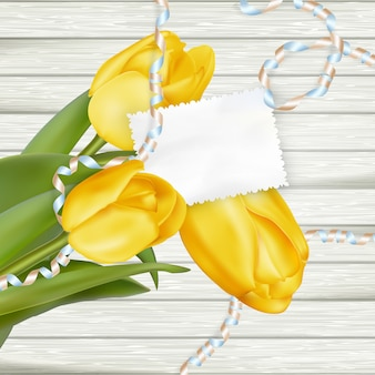 Carte en papier avec des tulipes.