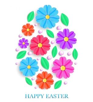 Carte de pâques avec des fleurs