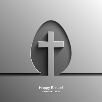 Carte de pâques en forme d'oeuf avec l'image d'une croix chrétienne, fond de pâques
