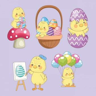 Carte de pâques joyeux avec groupe de poussins bébé