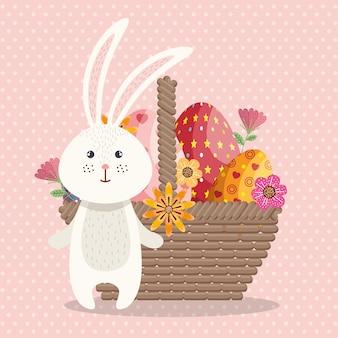 Carte de pâques joyeux lapin mignon
