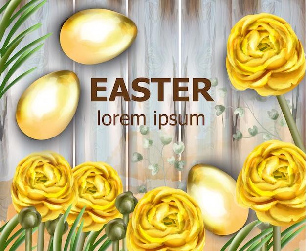Carte de pâques oeufs d'or et aquarelle de fleurs jaunes