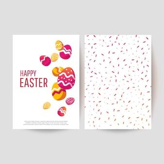 Carte de pâques avec des oeufs peints