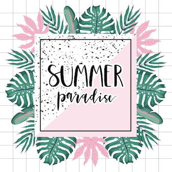 Carte de paradis d'été avec des feuilles de palmier.