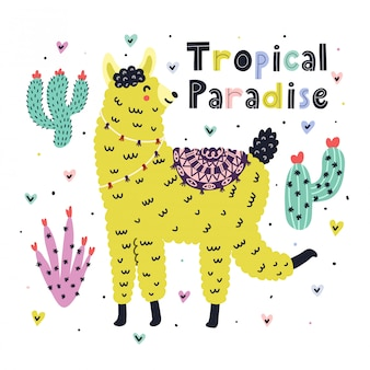 Carte de paradis tropical avec un lama mignon. imprimé d'été avec un alpaga drôle dans un style scandinave. fond branché avec lama pour les enfants. illustration