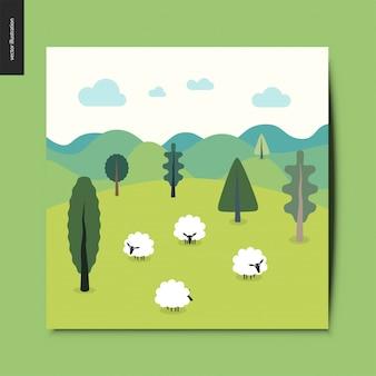 Carte paysage avec moutons, collines et nuages