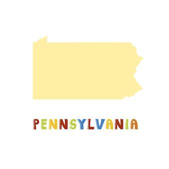 Carte de pennsylvanie isolée. collection américaine. carte de pennsylvanie - silhouette jaune. lettrage de style griffonnage sur blanc
