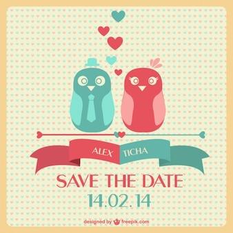 Carte de perruches de mariage
