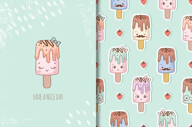 Carte de personnages de dessins animés de crème glacée mignon et modèles sans couture pour les enfants pour les jours d'été