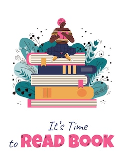 Carte avec petite femme de lecture sur pile de livres illustration de dessin animé plat.