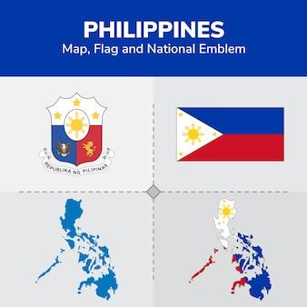 Carte des philippines, drapeau et emblème national