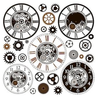 Carte avec des pièces d'horloge.