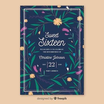 Carte de plantes dessinées à la main seize anniversaire