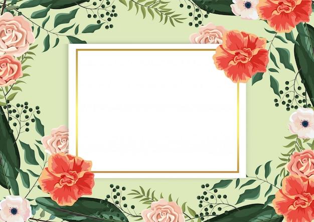 Carte avec des plantes roses et des feuilles de branches exotiques