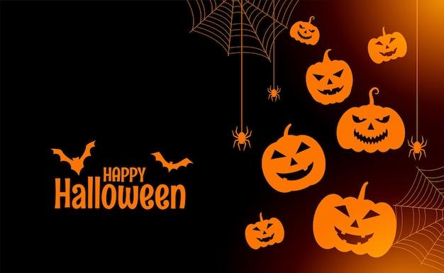 Carte plate heureuse d'halloween avec des citrouilles et des araignées