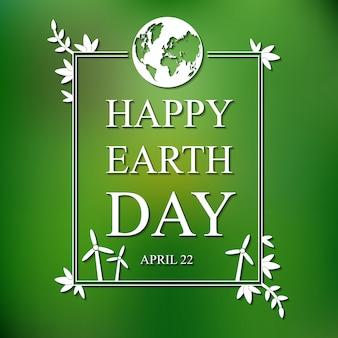 Carte plate jour de la terre sur fond flou