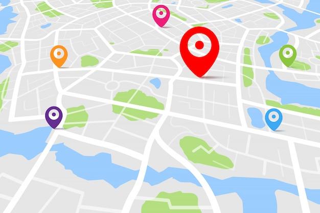 Carte avec le point de couleur de l'emplacement de destination
