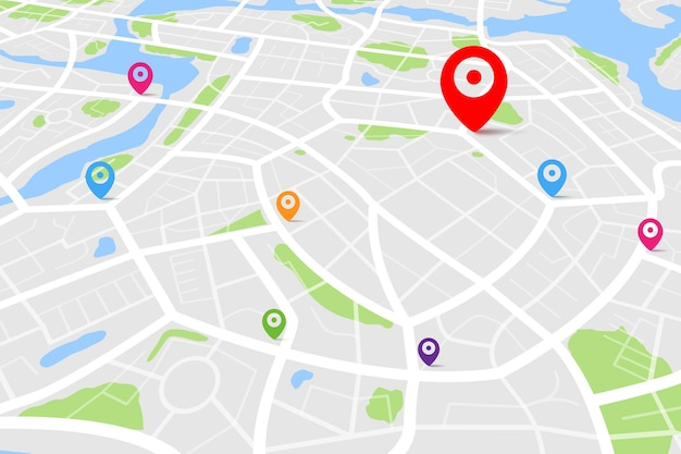 Carte avec point de localisation de destination