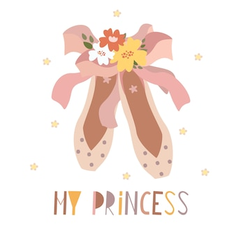 Carte pointe chaussures ma princesse