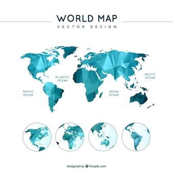 Carte polygonale du monde