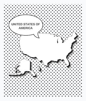 Carte pop art des états-unis d'amérique