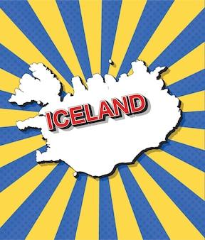 Carte pop art de l'islande