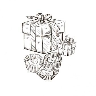Carte postale le 14 février, présente en emballage décoratif et chocolat.