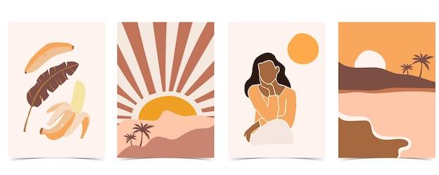 Carte postale abstraite avec montagne et femme