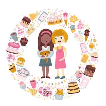 Carte postale d'amis. la fille donne à son amie un chiot pour son anniversaire. cercle composé d'éléments festifs.
