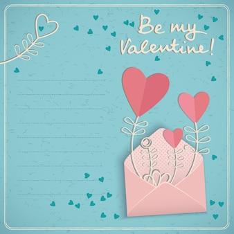 Carte postale d'amour de vacances avec proposition de champ de texte vide