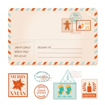 Carte postale ancienne d'invitation de noël de vecteur, carte postale vintage d'hiver, timbres de fête de noël, tampons en caoutchouc, voeux de vacances, éléments de conception de scrapbooking, lettre d'affranchissement de courrier, poinsettia, biscuit, bougie