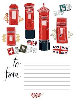 Carte postale avec boîtes postales