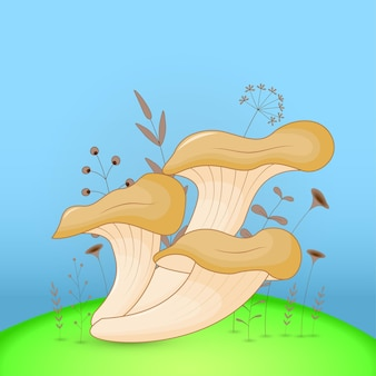 Carte postale cadeau avec champignon animaux de dessin animé. fond floral décoratif avec des branches et des plantes.