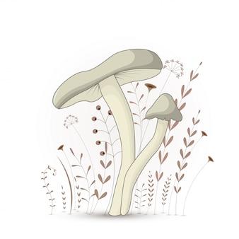 Carte postale cadeau avec champignon animaux de dessins animés.