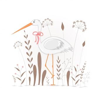 Carte postale cadeau avec cigogne animaux de dessin animé.