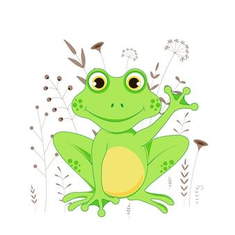 Carte postale cadeau avec grenouille animaux de dessin animé. fond floral décoratif avec des branches et des plantes.