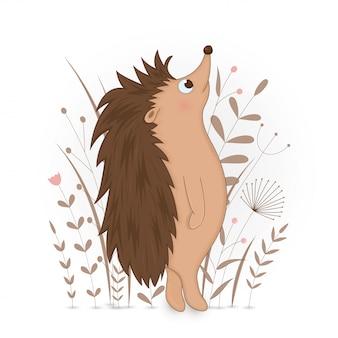 Carte postale cadeau avec hérisson d'animaux de dessins animés. fond floral décoratif avec des branches et des plantes.