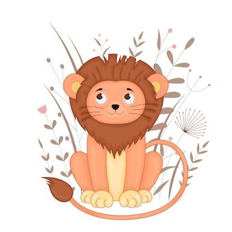 Carte postale cadeau avec lion dessin animé