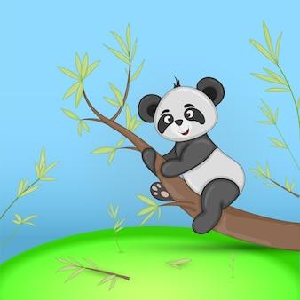 Carte postale cadeau avec panda d'animaux de dessin animé. fond floral décoratif avec des branches et des plantes.