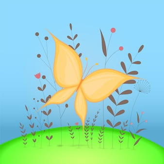Carte postale cadeau avec papillon animaux de dessin animé. fond floral décoratif avec des branches et des plantes.